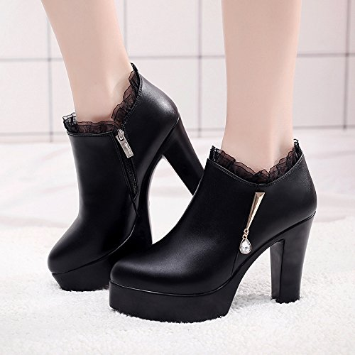 zapatos 11CM ultra Taiwán cuero negro con de La solo elegante un 33 zapatos terciopelo impermeable Código mujer con grueso de solo gran número profundos 33 de 32 código además de pequeño qdxd7C