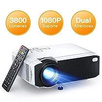Proyector, APEMAN Mini Proyector Portátil en Casa, Soporte HD 1080P, 3800 Lúmenes, Pantalla Grande, Altavoces Duales, 50000