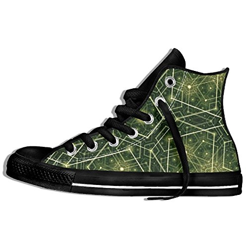 And Costume White Youtube Dance Black (Abstract Geometry High Top Sneakers Canvas Shoes Fashion Sneakers Shoes Street Dance Unisex Style Size)