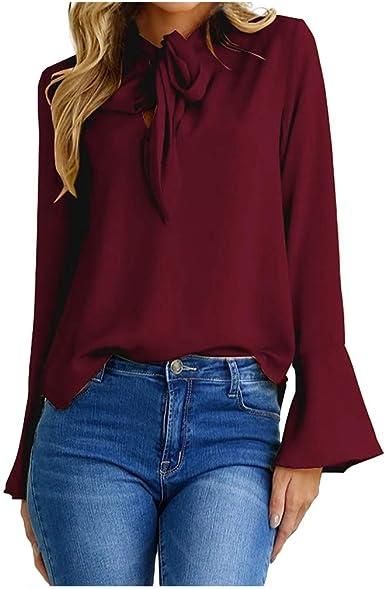 Blusas Mujer Invierno Camiseta Camisas Manga Acampanada Suéter de Mujer Invierno: Amazon.es: Ropa y accesorios