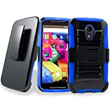 Motorola Moto G2 Case, Customerfirst Holster Case with Belt Clip Holster Kickstand Full-body Dual Layer Hybrid Protective Cover for your Motorola Moto G 2nd Generation XT1068 (Armor Blue)
