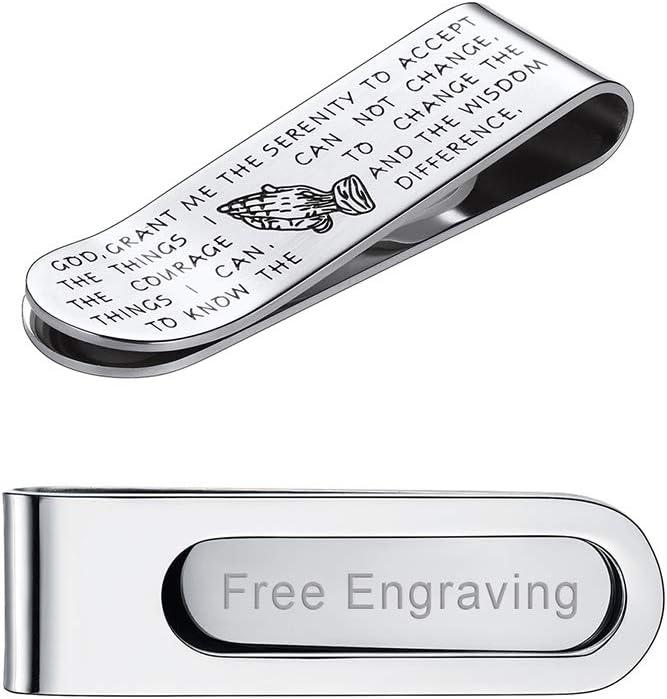 FaithHeart - Personalizado Clip de Dinero Pinza para Billetes y Tarjetas Acero Inoxidable Plateado Accesorio de Equipaje para Hombres Inscripción Biblia Mano de Oración