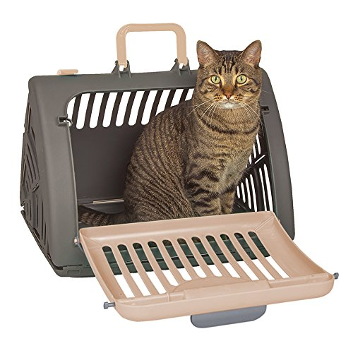 - SportPet Designs Foldable Travel Cat Carrier - Front Door Plastic Collapsible Carrier