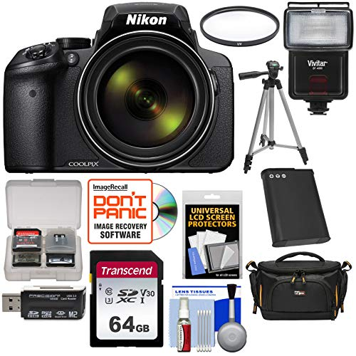 Nikon Coolpix P900 Wi-Fi 83x Zoom Digital Camera with 64GB Card + Battery + Case + Tripod + Filter + Flash + Kit (Sd For Coolpix Nikon P530)