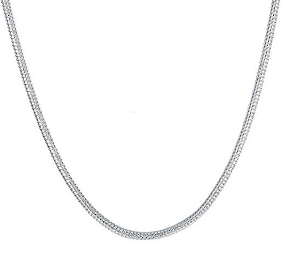 Huangiao 5 Pieces 925 Sterling Silver 2mm/1mm Snake Chain Necklace Jewelry (1mm 16 Inch)