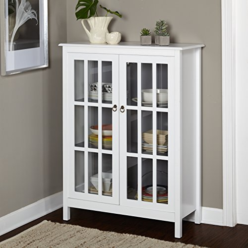 Simple Living Portland Window Pane Cabinet - Portland Tall cabinet, white/grey