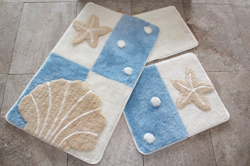 LaModaHome Bathmat Set, Sea Shell, Starfish and Dots, Blue and White - Big Mat Size (23.6