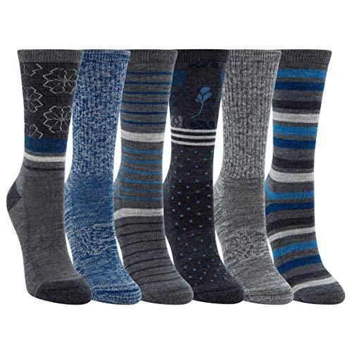 Kirkland Signature Womens 6 Pack Extra Fine Merino Wool Trail Socks (Grey/Blue)