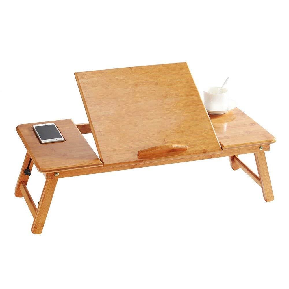 多機能 ポータブル竹折りたたみ式ラップトップスタンドデスクノートブックテーブルラップトップベッドトレイ、引き出し付きベッドテーブル、遊びゲーム用、読書読書用ベッド タブレットスタンド B07QR3WH9X