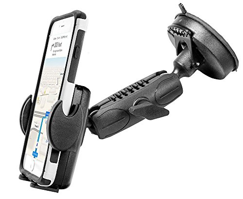 Car Mount Holder, Robust Windshield Mount for Apple iPhone 7 7S 6 Plus 6S / Samsung S8 S8 Edge S7 (universal) w/ Anti-Vibration 80mm Suction Pedestal and 360° Swivel Cradle (use with or without case)