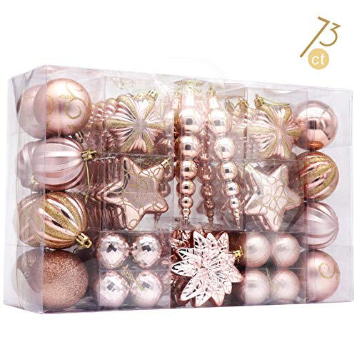 Ornament Collection Set - AUXO-FUN 73ct Assorted shatterproof Christmas Ornaments Luxury Collection Set in Reusable Hand-held Gift Package for Christmas Tree Decoration (Champagne)