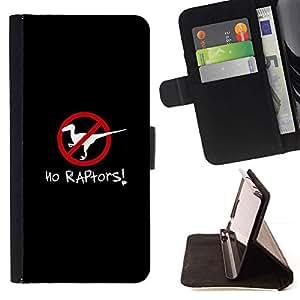 Momo Phone Case / Flip Funda de Cuero Case Cover - Raptors cartel Clever dinosaurio Negro - Samsung Galaxy S5 V SM-G900