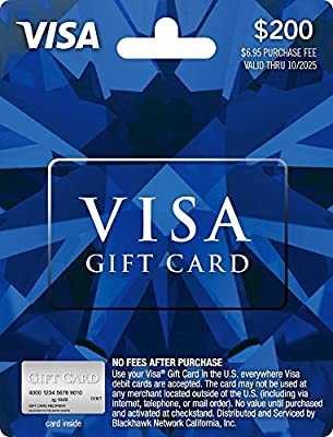 amazoncom 200 visa gift card plus 695 purchase fee gift cards - Order Visa Gift Card Online