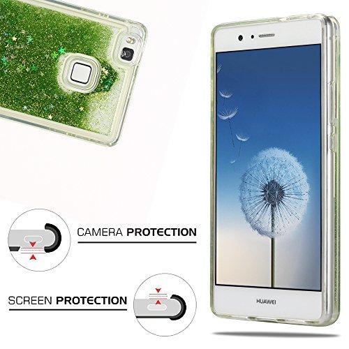 Funda Huawei P9 Lite, Caselover 3D Bling Silicona TPU Arena Movediza Lentejuelas Carcasa para Huawei P9 Lite Glitter Líquido Brillar Cristal Sparkle Protección Caso Suave Transparente Claro Bumper Cas Verde