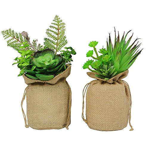 MX Potted Plants Artificial Plants Decorative Fake Flower with Sacks Home Office Decor Green Plants Stand or Hang Up, 1 Set of 2 by MX