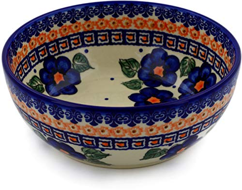 Polish Pottery 7-inch Bowl (Greek Poppies Theme) + Certificate of Authenticity