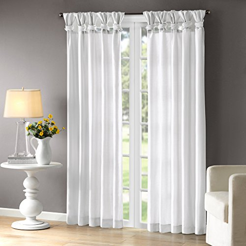 Madison Park Emilia Room-Darkening Curtain DIY Twist Tab Window Panel Black-Out Drapes for Bedroom and Dorm, 50x95, White ()