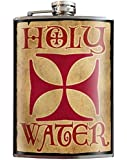 Holy Water Cross, Funny Alcohol Drinking Flask- 8oz Stainless Steel Flask - comes in a GIFT BOX - by Trixie & Milo
