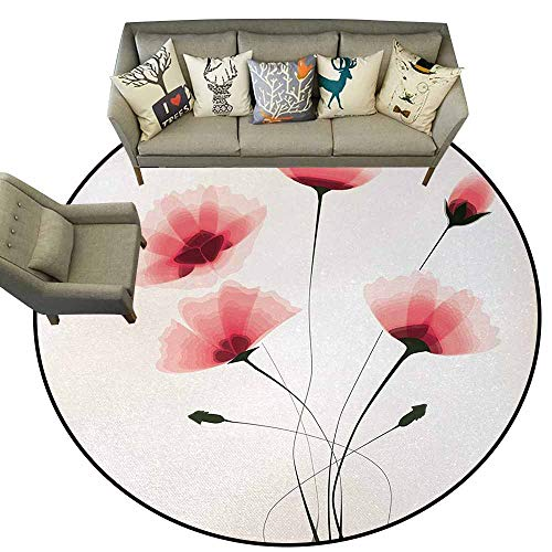 Abstract,Pattern Non-Slip Round Area Rug D36 Pure Romantic Cool Simple Natural Flower with Blossoms Artwork Print Bath Rugs for Bathroom Pink Green and White ()