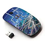 Planetar Colorful PrinTed Ultra-thin Wireless Optical 2.4Ghz Mouse - Black ( Factory Pipe Network )