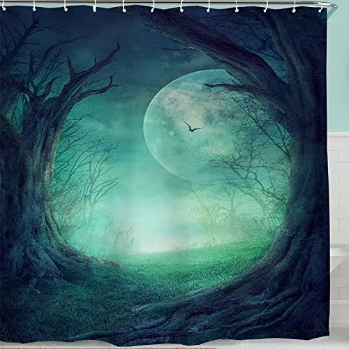 BROSHAN Fabric Bathroom Shower Curtain Fairy Forest Tree Mystical Horror Full Moon Enchanted Nature Scene Bathroom Decor Fantasy Green Polyester Fabric Shower Curtain Liner Green,72 inch Long,