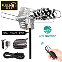 SKYTV 150 Mile Amplified TV Antenna Receiver Long Range Reception for Outdoor&Indoor With 360° Rotation -Wireless Remote - 33FT Coaxial Cable for FM/VHF/UHF Channels(without pole)