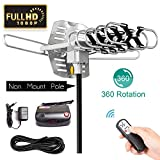 HDTV Antenna Amplified Digital Outdoor Antenna 150 Miles Range-360 Degree Rotation Wireless Remote-Snap-On Installation Support 2 TVs and UHF/VHF/1080P Channels
