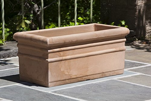 Campania International H130-AT Rectangular Rolled Rim Planter, Antique Terra Cotta Finish