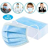 Disposable Face Masks, Earloop Respirator Mask for Personal Health, Anti Pollution Non Woven Safety 3-Layer Mask(20pcs)