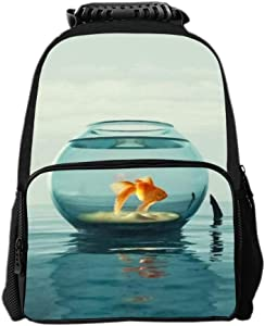 SARA NELL Kids Boys Girls Backpack Goldfish Tour in Fish Tank Shark Horn Children School Backpack Book Bag