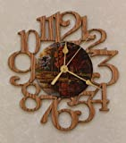 Cheap DUCKS & CABIN ~ SMALL Decorative OAK PHOTO WALL CLOCK ~ Great Gift for a CABIN/HUNTING Enthusiast!