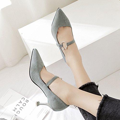 grigio scarpe in punta tacchi 38 luce donna a Presidente alta singola alti tacco di scarpe calzature satinato metallo xwgnaP