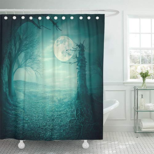 Ladble Waterproof Shower Curtain Curtains Blue Field Mystical