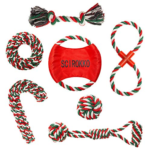 SCIROKKO 7 Pack Christmas Dog Rope Toys Set for Dog Training, Pet Chew Toys, Puppy Cleaning Tooth Oral Cavity, Applicable to Small and Medium-Sized Dogs (Dog Toys Large Christmas)