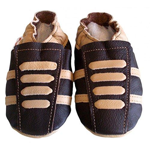 """""""Basket Schokolade"""" Hausschuhe weichem Leder–bbkdom–Collection Soft & Chic, Mehrfarbig - Mehrfarbig - vielfarbig - Größe: Pointures 23-24 (18 à 24 mois)"""
