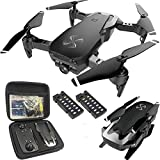 DRONE-CLONE XPERTS Drone X Pro AIR 1080P HD Dual Camera Quadcopter with Carrying Case, Follow Me, Gesture Photo/Video, Altitude Hold, RTH, FPV WiFi Live Video Feed and 2pcs Batteries Included (Black)