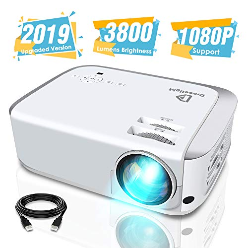Projector, DracoLight 4500 Lux Video Projector 50000 Hours Lamp Life Support 1080P Full HD, Compatible with Fire TV Stick, PS4, HDMI, VGA, AV and USB for Home Theater, Office Presentations