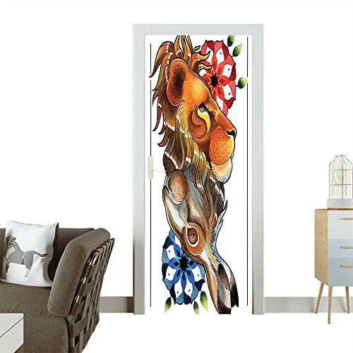 Door Sticker Wall Decals Reversible Double Up Down Leon and Rabbit Figures with Mandala Cosmos Pattern Easy to Peel and StickW38.5 x H77 INCH Bicycle Double Bubble Clock
