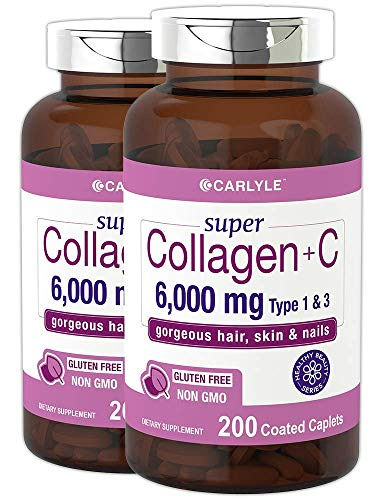 Advanced Collagen Peptides | 400 Caplets | 6000mg, Grass Fed, with Vitamin C Type 1 and 3 | Non-GMO, Gluten Free Supplement | Hair, Skin and Nails Pills by Carlyle