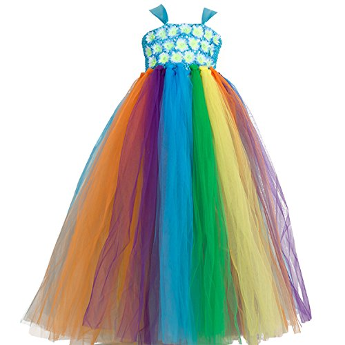 New Flower Girl Rainbow Tulle Dress Skirt Frilly Flower Dance Tutu Prom Robe Ball Gown Long (79CM, Blue) -