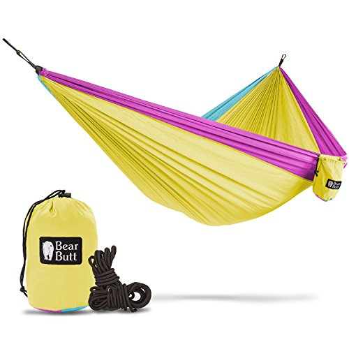 Double Nylon Hammock (Bear Butt #1 Double Hammock - A Start Up Company With Top Quality Gear At Half The Cost Of The Other Guys (Yellow / Sky Blue / Pink))