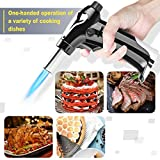 Harnmor Kitchen Culinary Butane Torch - Butane Fuel Not Included - Cooking Torches for Refillable - Blow Lighter with Adjustable Flame - Black