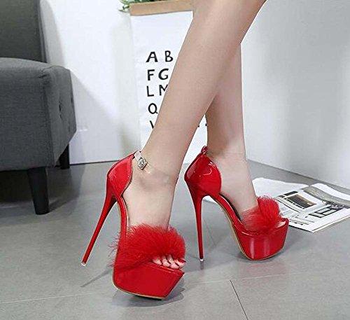 piede 40 aperti Scarpin caviglia del vestito del pattini Red D'orsay i cinghia dai nuziale pattini di Pump 34 della di pattini dei partito Eu aperta pattini Size 5cm 16 della cerimonia EwXqyzC7