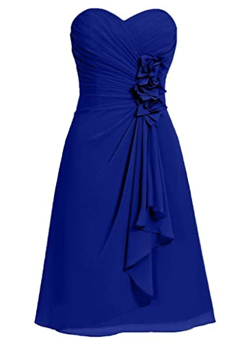 ELLAGOWNS Sexy Short Prom Dresses Chiffon Bridesmaid Dress with Flower Waist