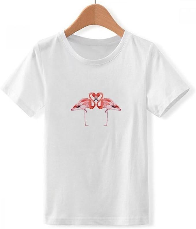 DIYthinker Flamenco Amante par del Equipo de Cuello de la Camiseta para Chico: Amazon.es: Ropa y accesorios