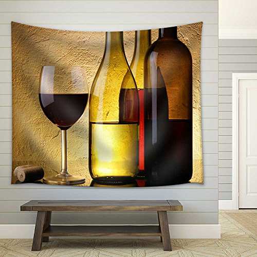 Still Life with Three Wine Bottles and Glass over Textured Background Fabric Wall Tapestry