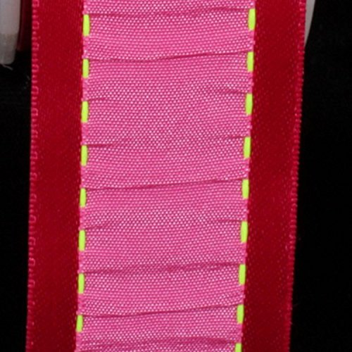 Red Gathered Satin (Pink and Red Gathered Taffeta with Wired Satin Edge Decorating Ribbon 1 5/8