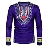 Doufine Men's Tops Spell Color Dashiki African Print Folk Style T-shirts Navy Blue M