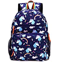 Kemys Cat Backpack for Girls Rainbow Kitten Schoolbag Primary Junior Elementary High School Bookbag for Kids Packie Water Resistant Large Birthday Gift Navy Blue