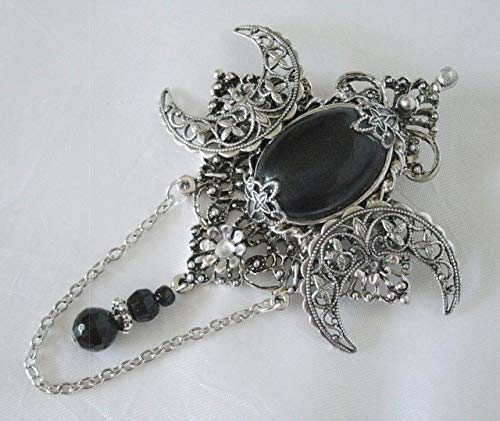 Black Onyx Triple Moon Brooch Or Cloak Pin, handmade jewelry wiccan pagan wicca goddess witch witchcraft gothic
